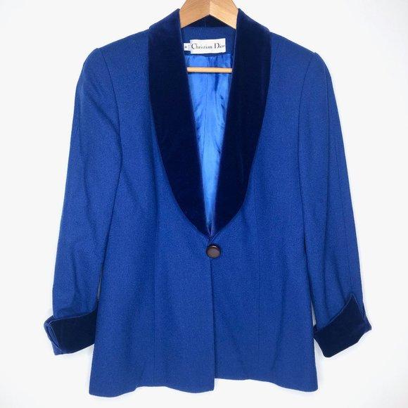 Vintage Christian Dior Blue Velvet Trim Blazer